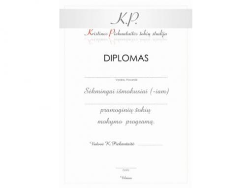 DIPLOMO DIZAINO KŪRIMAS – K.PIEKAUTAITĖS ŠOKIŲ STUDIJA