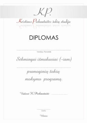 DIPLOMO DIZAINO KŪRIMAS - K.PIEKAUTAITĖS ŠOKIŲ STUDIJA