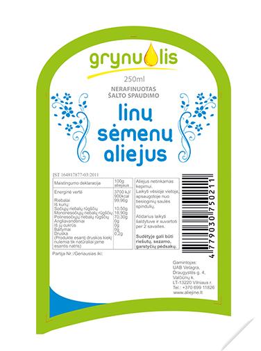 """ETIKETĖS DIZAINO KŪRIMAS – ALIEJAUS GAMINIAI """"GRYNUOLIS"""""""